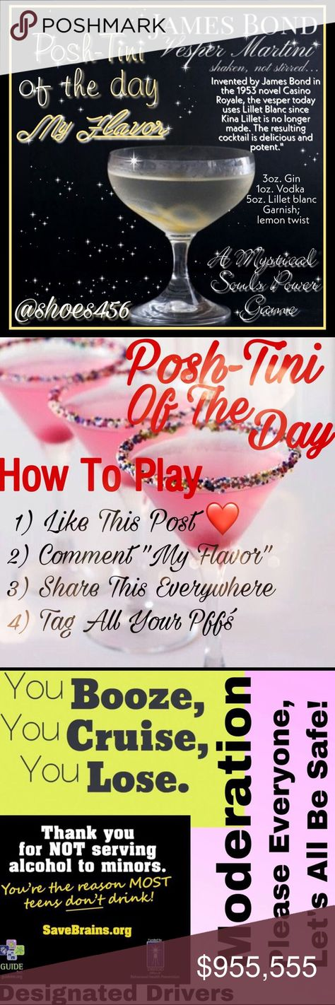 """11/1/2019 ♥️🍸♥️New Listing♥️🍸♥️ 11/1/2019  🍸Posh-Tini Of The Day🍸  🍸Posh-Tini Pick: Apple Lush Martini 🍸🍎 🍸Flavor Pick:ocean131  ♥️Mystical Pick:pralinequeen   🍸Comment """"My Flavor"""" Only Once Please  ♥️🍸Please Share 10 Items From Both Picks Of The Day And Grab Their Blues For Maximum Exposure🍸♥️  ♥️Sign Up To Play All Of The Mystical Souls Power Games♥️ Moongoddess7 🌚🧡 Lovethesale76 🔎 Rainydayspour 🃏 Poshclark449 🇺🇸 Lasvegasnv ⛏ Treazuretreebtq 🧚♀️ Coming Soon Sasha1027☢️ Jeann"""