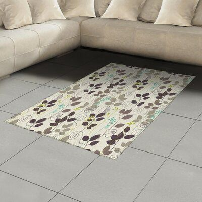 East Urban Home Ambesonne Floral Area Rug Doodle Leaves Earthen