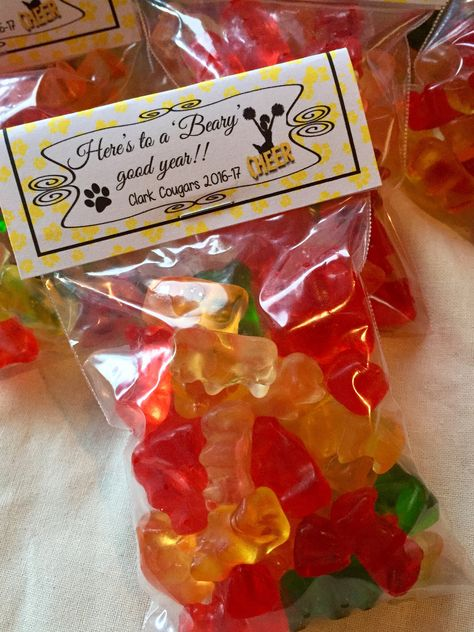 Here's to a 'Beary' good year! 🎉 Cheer camp gummy bears t… Cheer Snacks, Cheer Treats, Cheer Team Gifts, Dance Team Gifts, Football Treats, Cheer Camp, Football Cheer, Cheer Coaches, Cheerleading Gifts