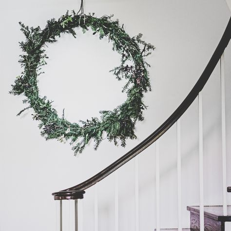 You can't beat an oversized wreath... used a fitness hoop for the base of this one! #christmaswreath #christmasfoliage #christmas2020 #christmasideas #christmasstyling