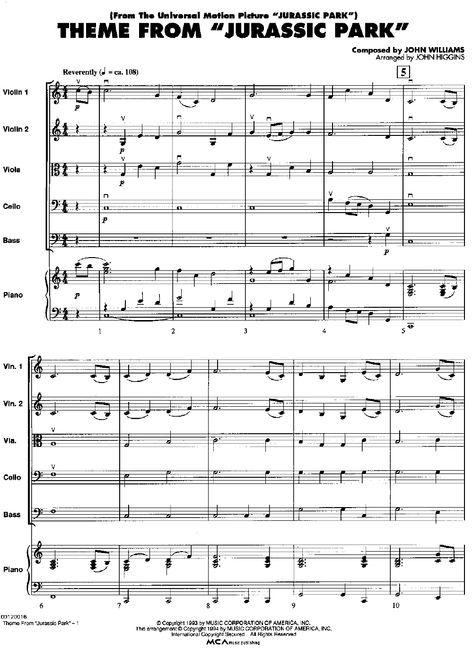 Jurassic Park Theme By John Williams Piano Sheet Music Rookie