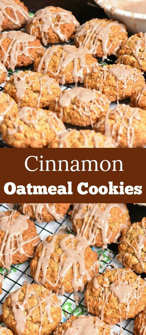 Soft and chewy Oatmeal Cookies are made with old fashioned oats and flavored with cinnamon and cinnamon glaze on top. It's the perfect classic cookie. #cinnamon #oatmeal #cookies #christmasbaking #christmas #baking