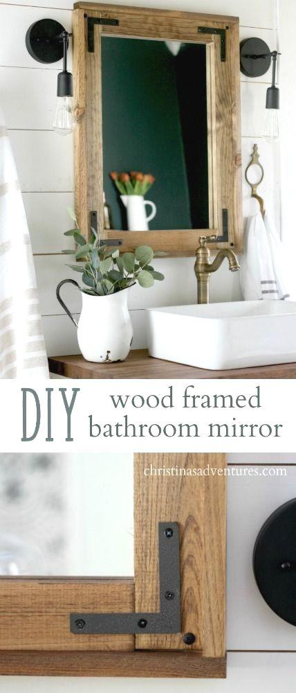 Diy Wood Framed Bathroom Mirror Christina Maria Blog Wood Framed Bathroom Mirrors Bathroom Mirrors Diy Bathroom Mirror Frame