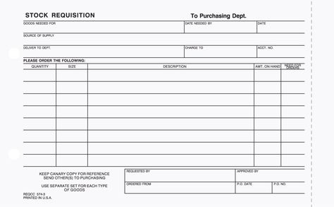 3-Part Stock Requisition Form Carbonless Business Forms Pinterest - requisition form in pdf