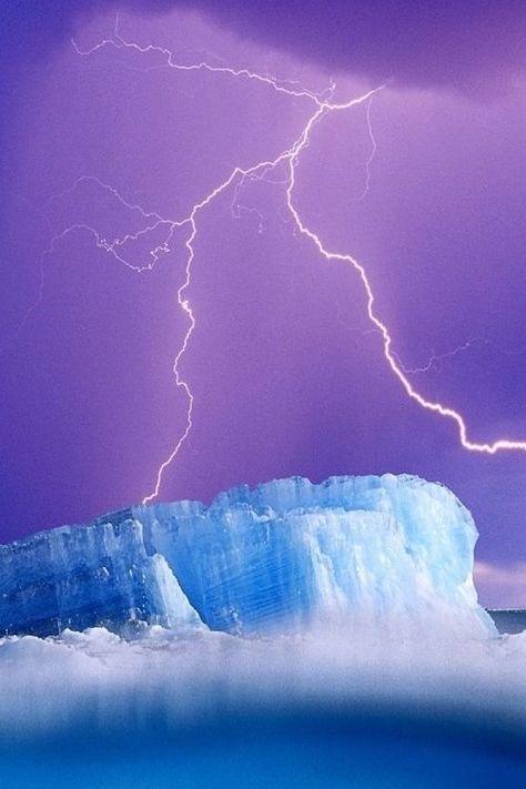 Nature, lightning, purple, blue