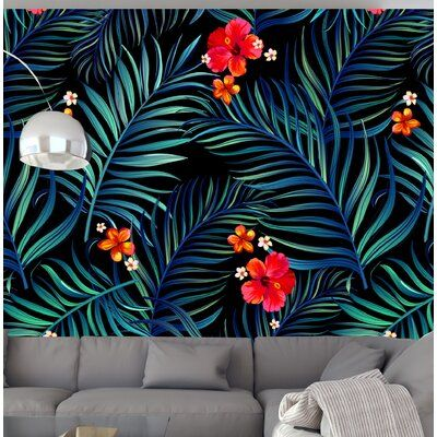 Bay Isle Home Armand Tropical Vintage 10 L X 24 W Smooth Peel And Stick Wallpaper Roll In 2021 Black Floral Wallpaper Peel And Stick Wallpaper Quirky Wallpaper