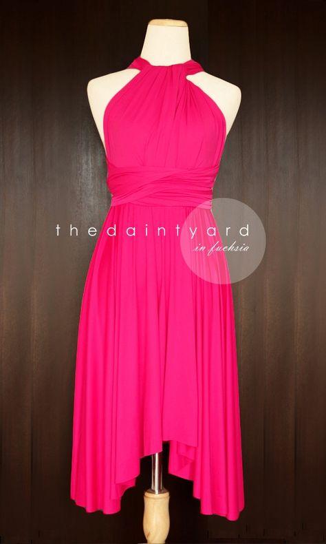 8725b2e39e4 TDY Fuchsia Short Asymmetrical Bridesmaid Dress Convertible Dress ...
