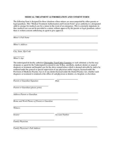 minor child travel consent letter also basic medical treatment - authorization request form