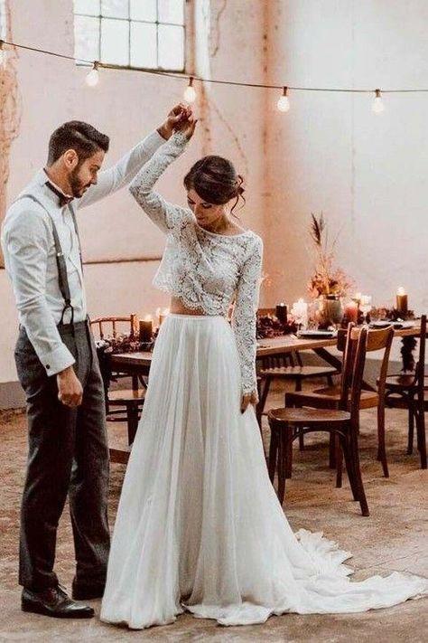 2 Piece Wedding Dress, Boho Wedding Gown, Wedding Gowns With Sleeves, Top Wedding Dresses, Tea Length Wedding Dress, Cheap Wedding Dress, Bridal Dresses, Seaside Wedding, Casual Lace Wedding Dress