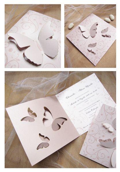 Partecipazioni Matrimonio Tridimensionali.Partecipazioni Con Farfalle 3d Farfalle Tagliate A Laser Creano