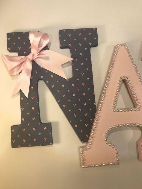 girls nursery letters, girls rose gold blush navy nursery letters, baby nursery name letters, rose g