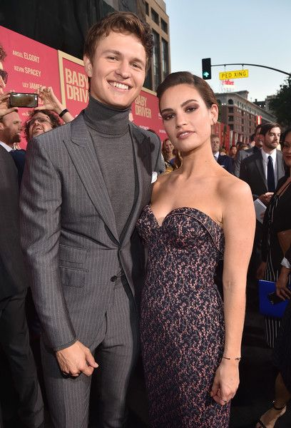 Actors Ansel Elgort and Lily James attend the premiere of Sony Pictures' 'Baby Driver.'