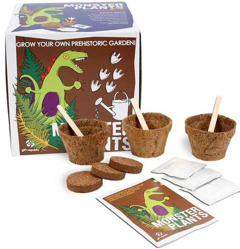 Monster Plants Kit!  1 packet of snapdragon seeds  1 packet of asparagus fern seeds  1 packet of moving plant seeds  3 coconut husk starter pots  3 coconut husk compost discs which expand when watered  3 wooden plant markers  Sow & Grow booklet with growing tips and puzzles
