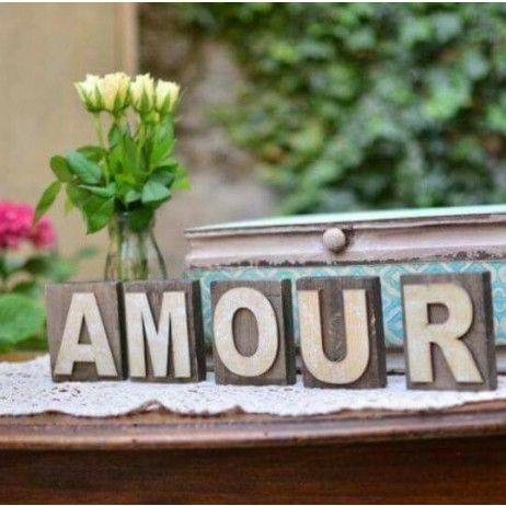 Centre De Table Mot Amour En Bois 5 Lettres En Bois Amour