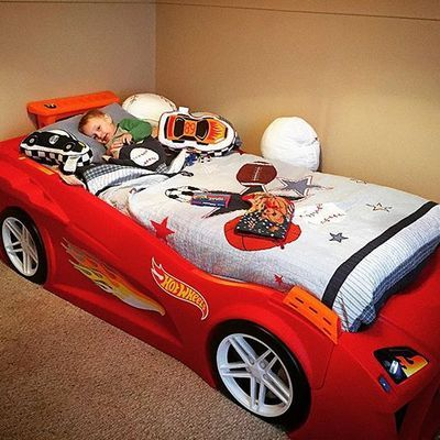 Hot Wheels Toddler To Twin Race Car Bed Red Kids Bed Race Car Bed Car Bed Red Bedding