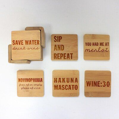 Trinx Custom Engraved Wine Lovers Coaster Set With Holder Engraved Coasters Wine Coasters Engraved Bamboo