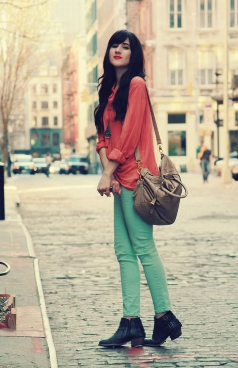 Flashes of Style: Mint Green + Coral   Fashion, Mint skinny
