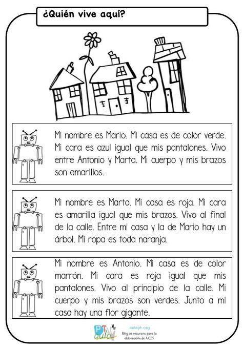 Nueva ficha para trabajar la comprensión lectora de frases y textos cortos . En ella el alumno deberá de colorear según la información y acertar