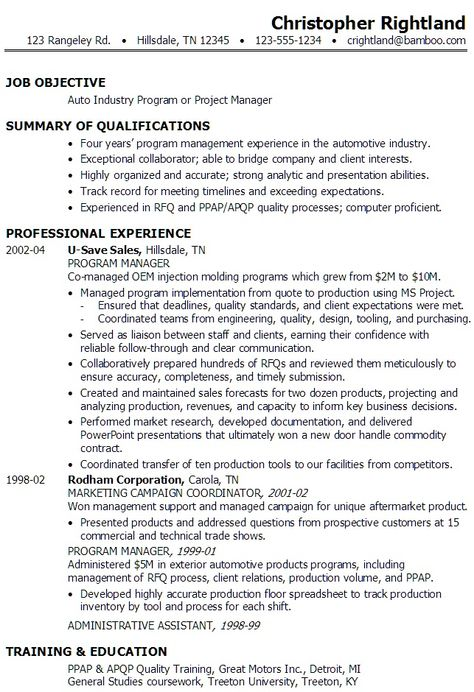 portfolio manager resume samples