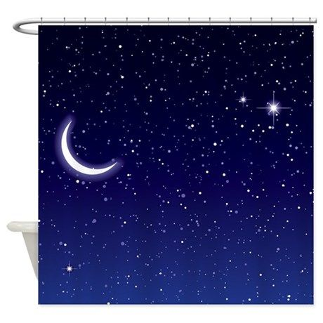 Night Sky With Moon And Stars Shower Curtain By Artwork Night Skies Backdrops Stars At Night