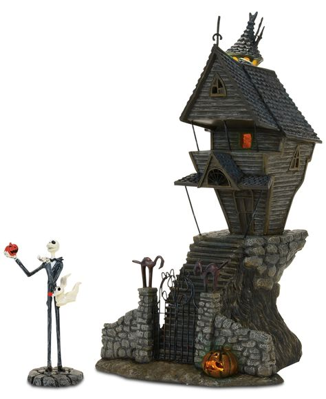 Bring The Nightmare Before Christmas into your home with this ghoulish Pumpkin King Jack Skellington, his ghost dog Zero, and his nightmarish abode. Shop now! Jack Skellington, Department 56, Vivarium, Halloween Town, Halloween 2017, Halloween Village Display, Halloween Fairy, Halloween Queen, Halloween Jack