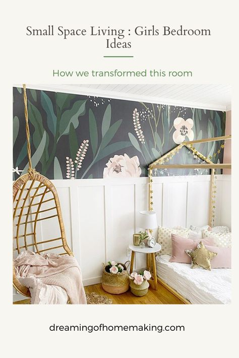 Small Space Living : Girls Bedroom Ideas, how we transformed this room - Dreaming of Homemaking Small Girls Bedrooms, Little Girl Rooms, Cool Girl Bedrooms, Modern Girls Rooms, Kid Bedrooms, Girls Room Design, Girl Bedroom Designs, Kids Room For Girls, Kids Rooms