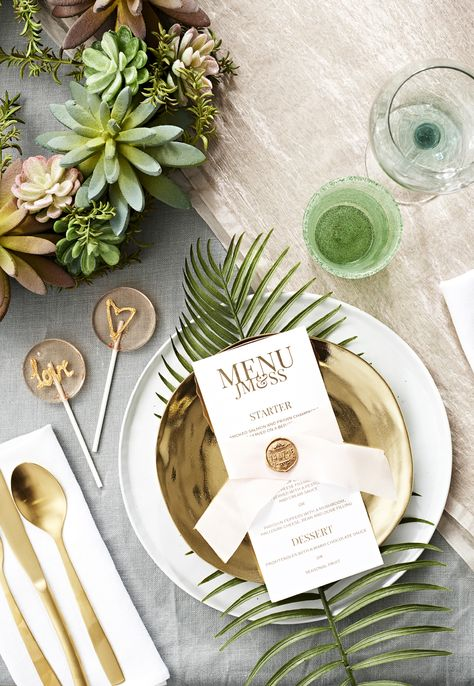 Botanical wedding styling is one of our favourite new trends. Swap traditional floral arrangements for succulents to achieve a fresh, modern take on rustic décor.