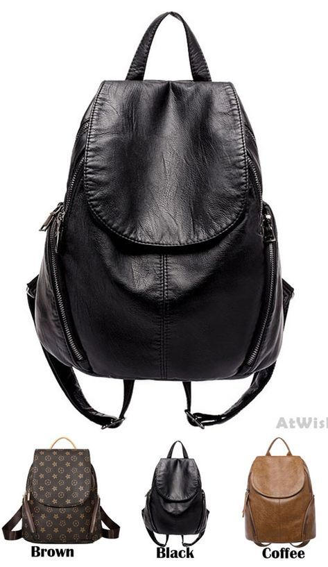 New on Retro PU Leather Multifunctional Backpack Girls School Bag Travel Bag