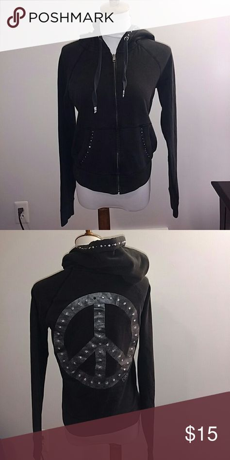 PINK Victoria's Secret Zip Up Black VS zip up with rhinestones on hood and rhinestone peace sign on the back. A few rhinestones are missing. PINK Victoria's Secret Tops Sweatshirts & Hoodies