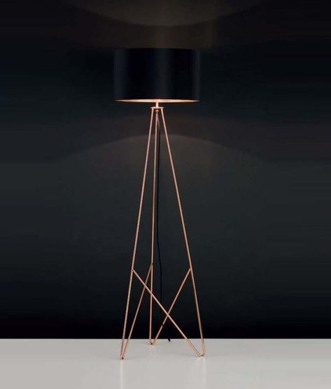 Modern Copper Tripod Style Table Lamp with a Yellow Geometric Pattern Cylinder Light Shade