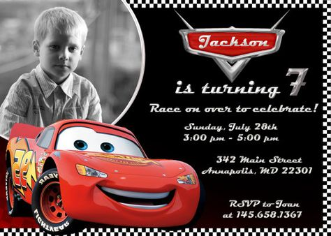 Disney Cars Lightning McQueen Birthday Party Invitation