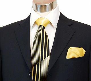 Steven Land Big Knot Silk tie gray yellow red stripe mod floral jacquard