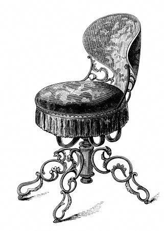 Antique Music Chair Swivel Music Seat Black And White Clip Art Vintage Chair Engraving Old Fashioned Ch In 2020 Clip Art Vintage Drawing Furniture Game Room Chairs