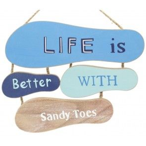 Nautical Flip Flop Sign Footprints In The Sand Wooden Hanging Plaque