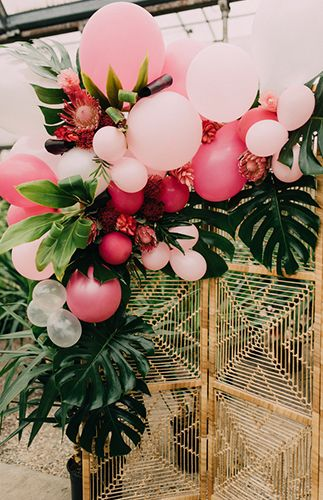Tropical Bridal Shower in a Greenhouse - Inspired by This - Shower . - Tropical bridal shower in a greenhouse – inspired by this – - Bridal Shower Decorations, Balloon Decorations, Birthday Decorations, Wedding Decorations, Wedding Ideas, Tropical Party Decorations, Tropical Party Foods, Wedding Colors, Fall Wedding