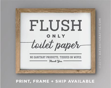 Septic System Sign Printable Bathroom Sensitive Plumbing Flush Only Pee Poo Toilet No Tampons Funny Home decor Cute sanitary quote Wood art