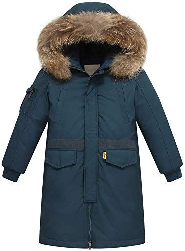 Girls Winter Down Coats Thickened Warm Mid-Long Puffer Parka Jacket with Fur Hood