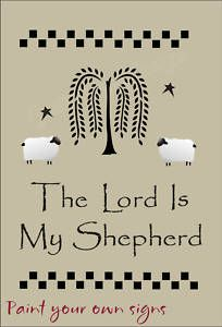 free primitive stencils | Primitive-Willow-STENCIL-Lord-My-Shepherd-Folk-Art-Tree-Sheep-Check ...
