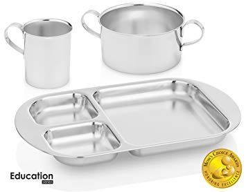 Kiddobloom Kids Premium Stainless Steel Dinnerware Set 1 Bowl 1 Cup And 1 Divided Plate Education Review Dinnerware Set Toddler Bowls Kids Cups