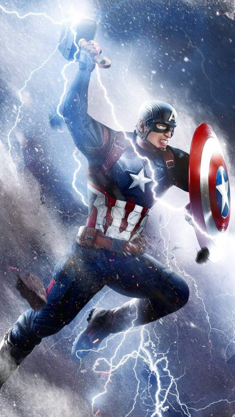 Captain America Thor Hammer Attack Iphone Wallpaper Iphone
