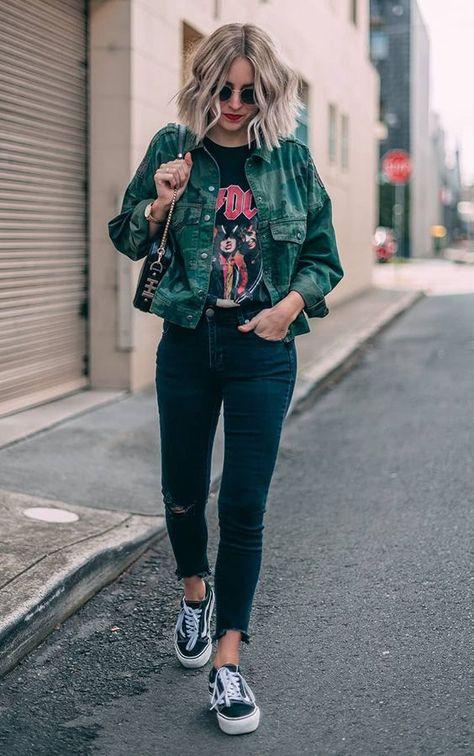 Street Style casual fashion, band shirt, womens fashion, womens style