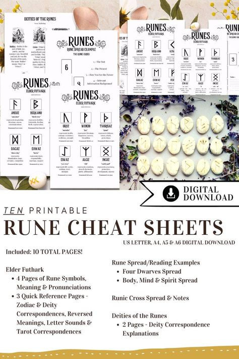 Printable Pages, Witchy Printable, Grimoire Pages, Book of Shadows, Witch Print, Witch Planner, Rune Cheat Sheet, Printable Grimoire, Runes