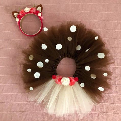 Photo of Deer costume , girl set of headband and skirt , baby kid bambi crown , flower tutu skirt , birthday