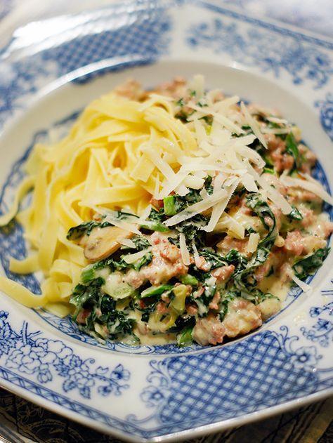 pasta grönkål creme fraiche