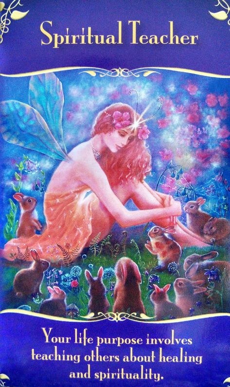 This card is the spiritual teacher card from the 'Magical Messages from the Fairies' oracle cards by Doreen Virtue Angel Guidance, Spiritual Guidance, Angel Prayers, Oracle Tarot, Spiritual Teachers, Angel Cards, Spirit Guides, Life Purpose, Chakras