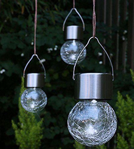 Solar Led Hangeleuchte Leuchte Glaskugel Warmweiss 3er Set 3109 Solarleuchten Garten Solarleuchte Solarleuchten Bas Led Hangeleuchte Glaskugel Hangeleuchte