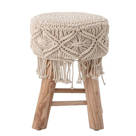 This round stool features upholstered seat in hand-woven cotton macramé, which is supported by four legs made of mango wood. This attractive stool is the perfect accent furniture and brings breezy style to the home. The neutral macramé finish coordinates with most color palettes. This stool can be used as a footstool, ottoman, side table, or as a plant stand.Round stool features a macramé upholstered seatAttractive stool brings breezy style to the homeMacramé coordinates with most color palettes