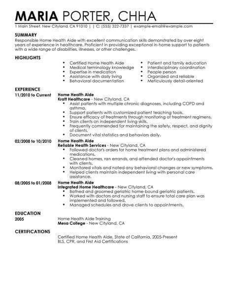 Resume Examples Home Health Aide ResumeExamples