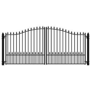 Aleko Prague Style 16 Ft X 6 Ft Black Steel Single Swing Driveway Fence Gate Dg16prassw Hd The Home Depot Driveway Fence Fence Gate Driveway Gate