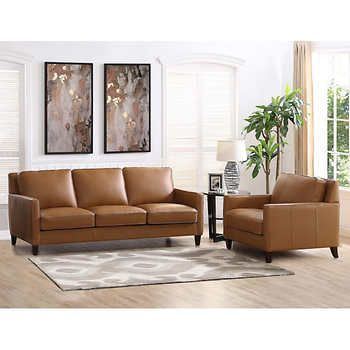 West Park 2 Piece Top Grain Leather Set Sofa Chair Top Grain